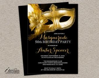 Masquerade 50th Birthday Party Invitation | DIY Printable Gold Mask Mardi Gras Invitations | Venetian Mask Golden Anniversary Invitess