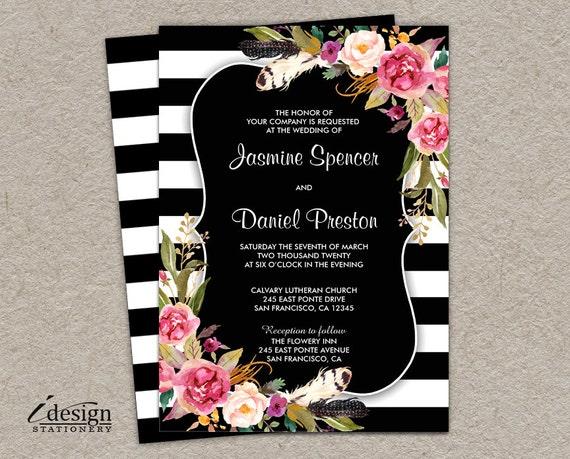 Elegant Black And White Stripe Boho Chic Wedding Invitation