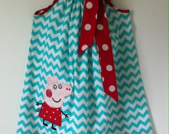 Custom Made Pillowcase Dress- Turquoise Chevron with Peppa Pig Machine Embroidered Applique & Red Polka Dot Hem and Ribbon- NB-8y/o