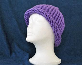 Winter Hat Loom Knit Bulky Knit Purple Hat