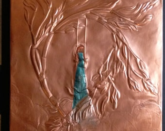 BLUE DRESS on SWING - 1 Panel Relief - Copper Wall Art