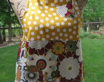 Flower and Dots Apron- Child Size Large