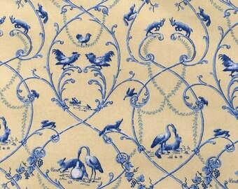 P Kaufmann Yellow Blue Animal Toile Fabric by the Yard