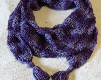 Lightweight loopy Scarf in Purple Shades! Hand Dyed, Guaranteed Unique!