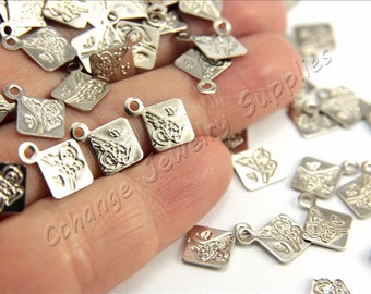 Ottoman Stamping Blanks, 50 pcs Brass Stamping Tags, (12mm x 10mm) Silver Tone Blanks, Ottoman Sign Stamping Tag Charms, Brass Blanks