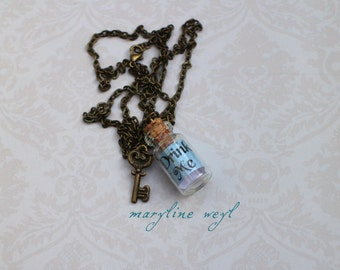 Necklace vial drink me turquoise blue