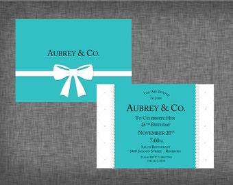Tiffany Theme Party Invitation- Tiffany Theme Invite- Tiffany Birthday Party Invite- Tiffany Shower Invitation