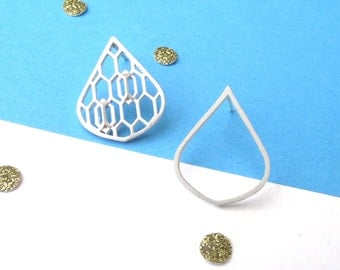 Mismatched Geometric Rain Drop Earrings