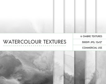 Black grey ombre watercolor digital papers commercial use