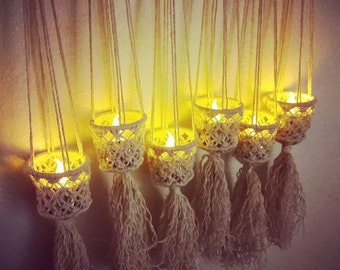 Summer outdoor Macrame Decorative light LED lantern String light Wall light Patio decor Modern macrame hanging light Wedding macrame gift