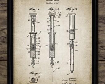 Hypodermic Syringe Patent Print - 1951 Medical Design - Medical Equipment - Doctor Art - Single Print #2056 - INSTANT DOWNLOAD