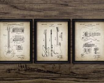 Electric Guitar Patent Print Set Of 3 Prints - Electric Guitar Design - Guitarist Gift - Set Of Three Prints #864 - INSTANT DOWNLOAD