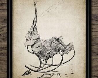 Whimsical Elephant Print - Elephant Wall Art - Funny Elephant Picture - Reclining Elephant Decor - Single Print #1236 -INSTANT DOWNLOAD