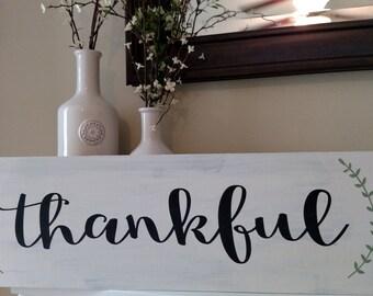 Thankful Sign; Large Thankful Sign; Thanksgiving Decor; Farmhouse Thanksgiving Decor; Farmhouse Decor