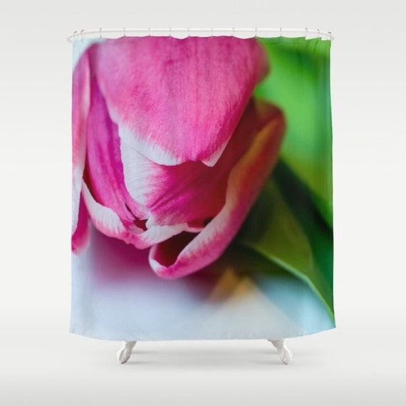 Shower Curtains, Pink and Green, Bright Bathroom, Macro Photography, Tulip Photo Decor, Home Decorations, Apartment Living, Flower Photo