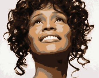 Lovely Whitney Houston Pop Art Paint By Number Kit