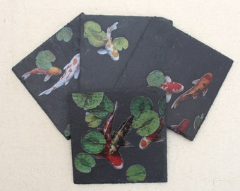 Natural Slate Stone Coaster Set of 4 - Koi Fish