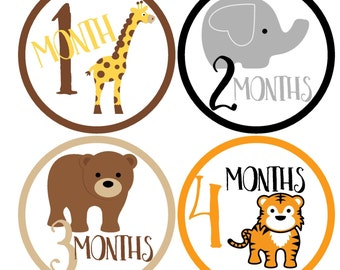 Animal Monthly Baby Stickers / Belly Stickers / Monthly Milestone Stickers / First Year Stickers / Baby Month Stickers / Baby Stickers Month