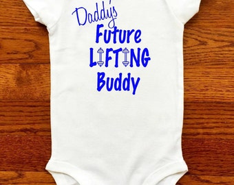 Baby Exercise / Future Lifting Buddy / Baby BodySuit / Weightlifting Baby / Strong Dad /