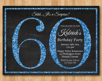 60th birthday invitation. Blue Glitter Birthday Party invite. Adult Surprise Birthday. Elegant. Printable digital DIY.