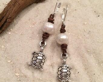 Sea Turtle, Pearl & Leather Earrings