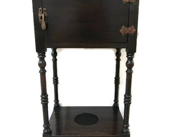 Humidor; Antique Humidor, Standing Humidor, Antique Smoking Stand, Smoking Stand