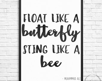 Muhammad Ali Float Like A Butterfly Sting Like A Bee Digital Print 8 x 10