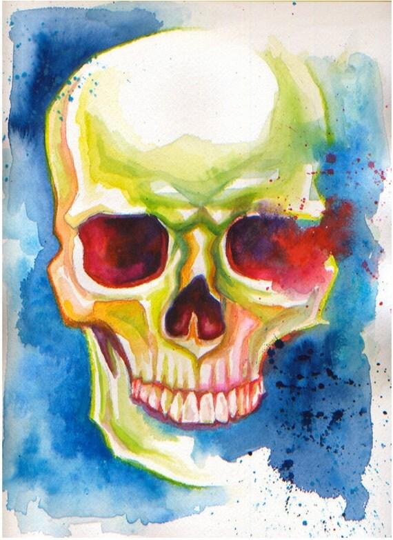 Colorful Skull (Blue): Original Watercolor