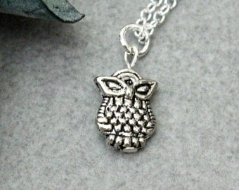 Silver Owl Necklace, Owl Pendant Necklace, Small Owl Charm, Silver Bird Necklace, Silver Minimalist Necklace, Tiny Owl Necklace, Silver Owl