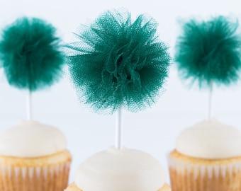 Dark Green Tulle Pom- Tulle pom pom- Cupcake pom pom- Halloween party- St. Patricks Day