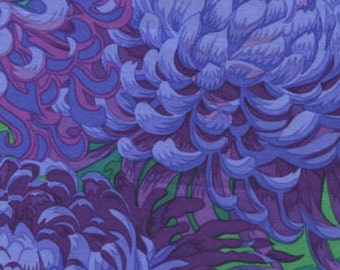 1/2 Yard Japanese Chrysanthemum in Purple Philip Jacobs  fabric  PJ041