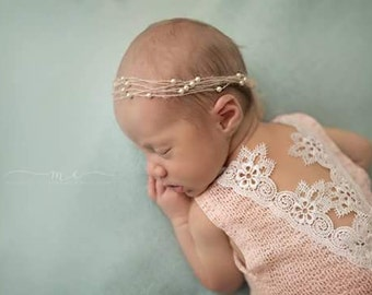 SALE--Newborn Lace Romper-- Newborn Outfit-- Newborn Photo Prop-- Baby Girl Romper