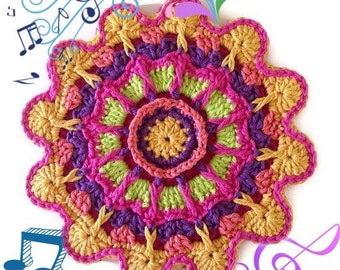 Crochet Flower Fiesta Potholder/Hand-made Trivet/Large HotPad/Double Thick-Cotton Potholder, Crocheted from My Original Pattern-Gift for Her