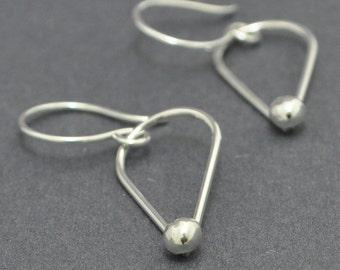Handmade dangle earrings, Tear drop, Hammered, Sterling silver, Forged, 20 gauge ear wires