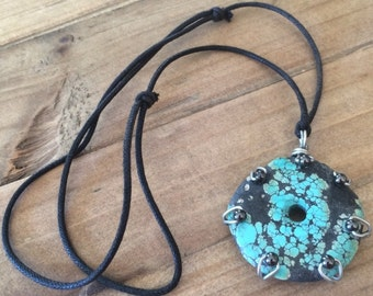 Rope Necklace Wire Wrapped Turquoise Necklace