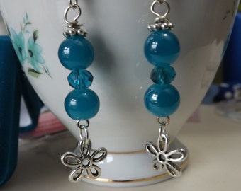 Teal gemstone & Swarovski Crystal drop earrings