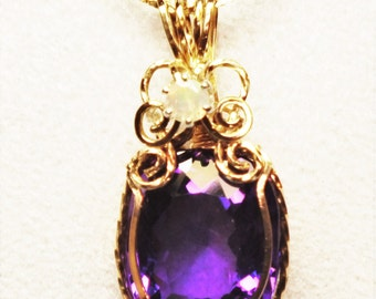 Dark Natural Brazilian Amethyst and Welo Opal Wire-wrapped Pendant - 11 carats of pure beauty!!!