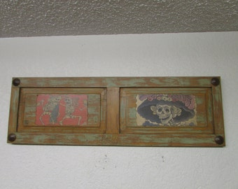 Day of the Dead Panel-Mexican Folk Art-Primitive-40x13x2 inches-Art-Primitive-Unique-Rustic-Old Window