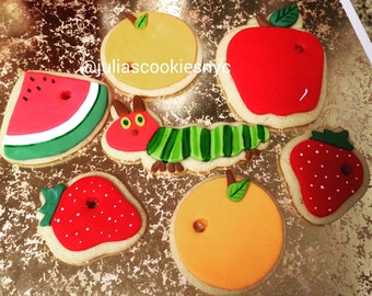 very hungry caterpillar cookies set (12 cookies)