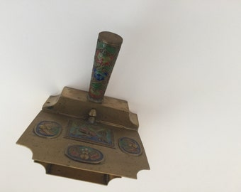 Brass Chinese Silent Butler Ashtray Crumb Catcher