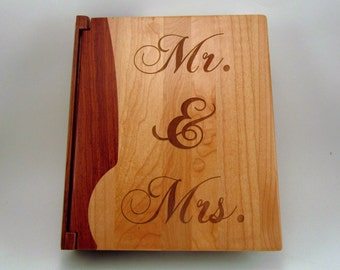 "Engraved Wood Personalized Photo Album ""Mr. & Mrs.""- Large"