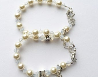 Personalized Sterling Silver Initial Cross Bracelet- Swarovski Cream Pearl and Clear Crystal-Baby or Child