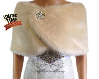 Faux Fur Wrap, Champagne Faux fur Cape, Faux Fur Stole, Fur Shrug, Wedding Stole, Bridal Wrap, Bridal Stole, My Radiant Beauty Fur FW108-CPN