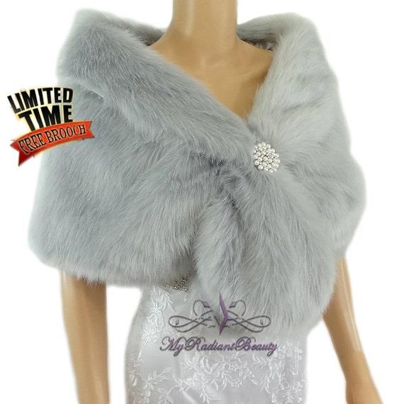 Bridal fur stole silver faux fur shrug wedding by for Fur shrug for wedding dress