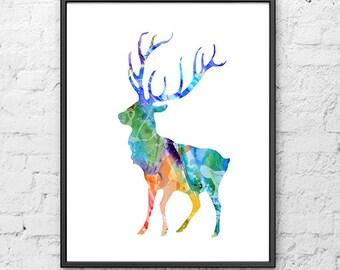 Deer Art Print, Animal Art, Watercolor Deer Illustration, Watercolor Painting Art Illustration, Living Room Decor - H58