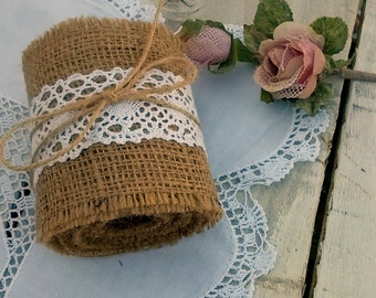 Burlap Ribbon - Ready to Ship - Burlap and Lace Ribbon - Burlap and  Crochet Lace ribbon - Ribbon - Wedding decoration - Baptism Decoration