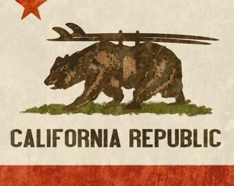 California Surfer Bear Art, 12x12 Giclee on Paper, California Flag, California Republic Flag, Bear Artwork