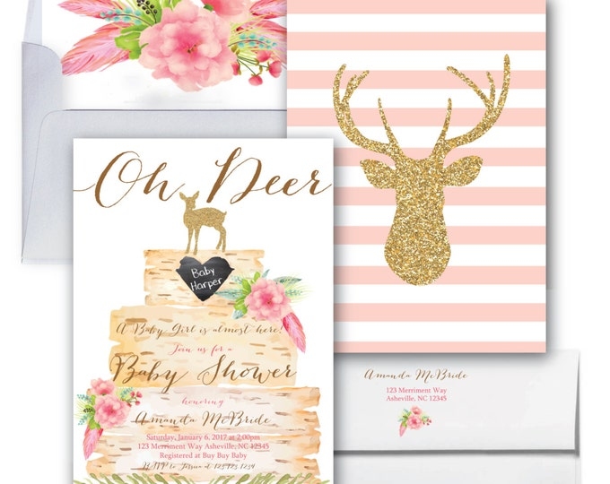 It's a Girl Baby Shower Invitation // Oh Deer // Girl // Pink // Boho Chic  // Birch // Woodland // Gold Glitter // ASHEVILLE COLLECTION