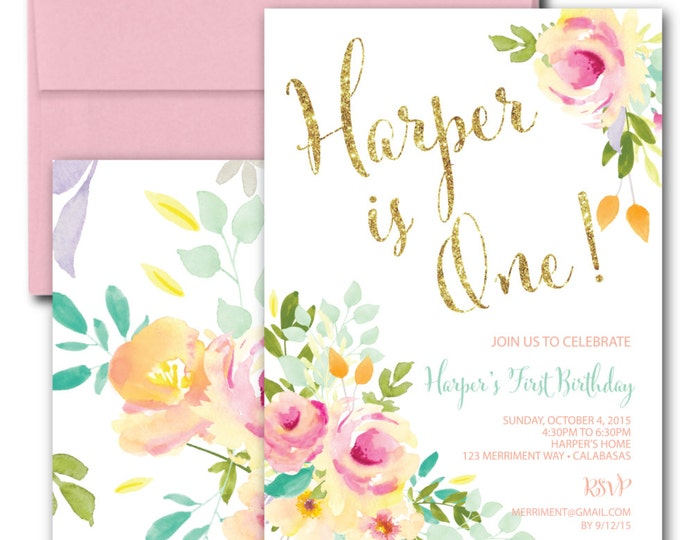 First Birthday Invitation //Roses /Peonies //Peony// ONE // Pink // Gold Glitter // Yellow// MALIBU COLLECTION