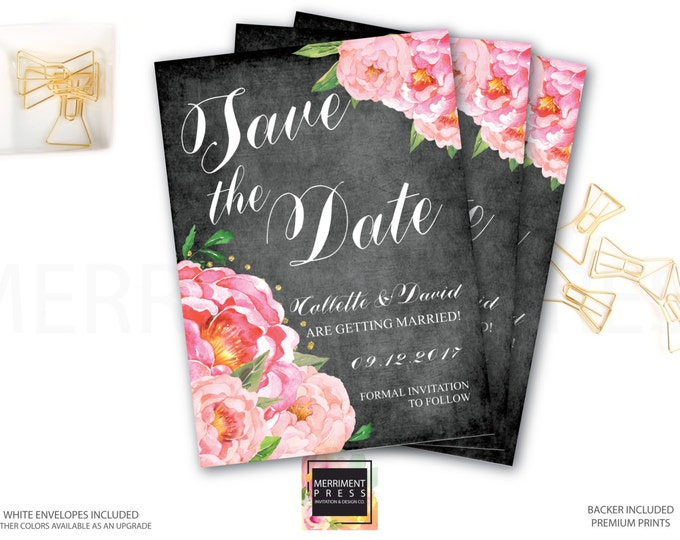 Save the Date Card // Chalkboard // Peonies // Peony// Cheers // Pink // Gold Glitter // BORDEAUX COLLECTION